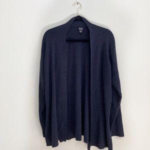 Eileen Fisher Blue Black Wool Open Cardigan L
